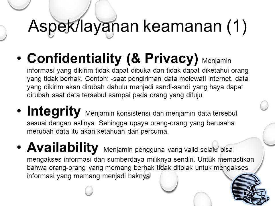 25 Aspek/layanan keamanan (1) Confidentiality (& Privacy) Menjamin informasi yang dikirim tidak dapat dibuka dan tidak dapat diketahui orang yang tidak berhak.
