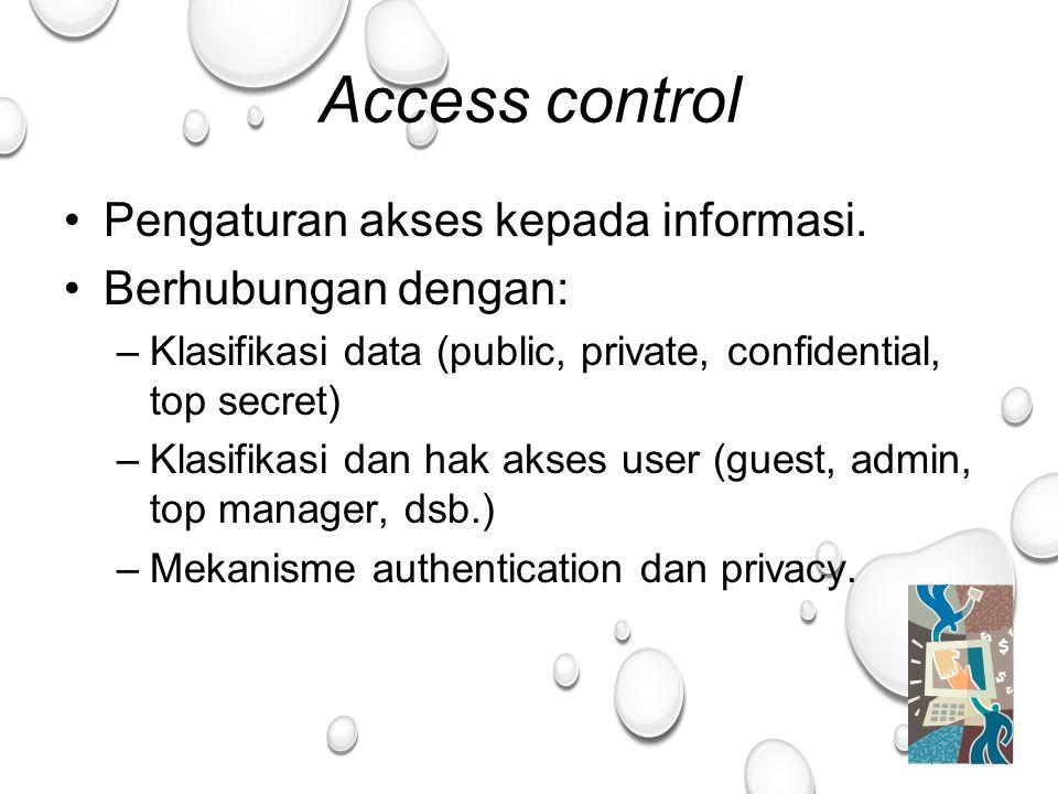 35 Access control Pengaturan akses kepada informasi.