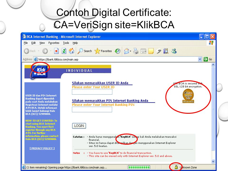 37 Contoh Digital Certificate: CA=VeriSign site=KlikBCA