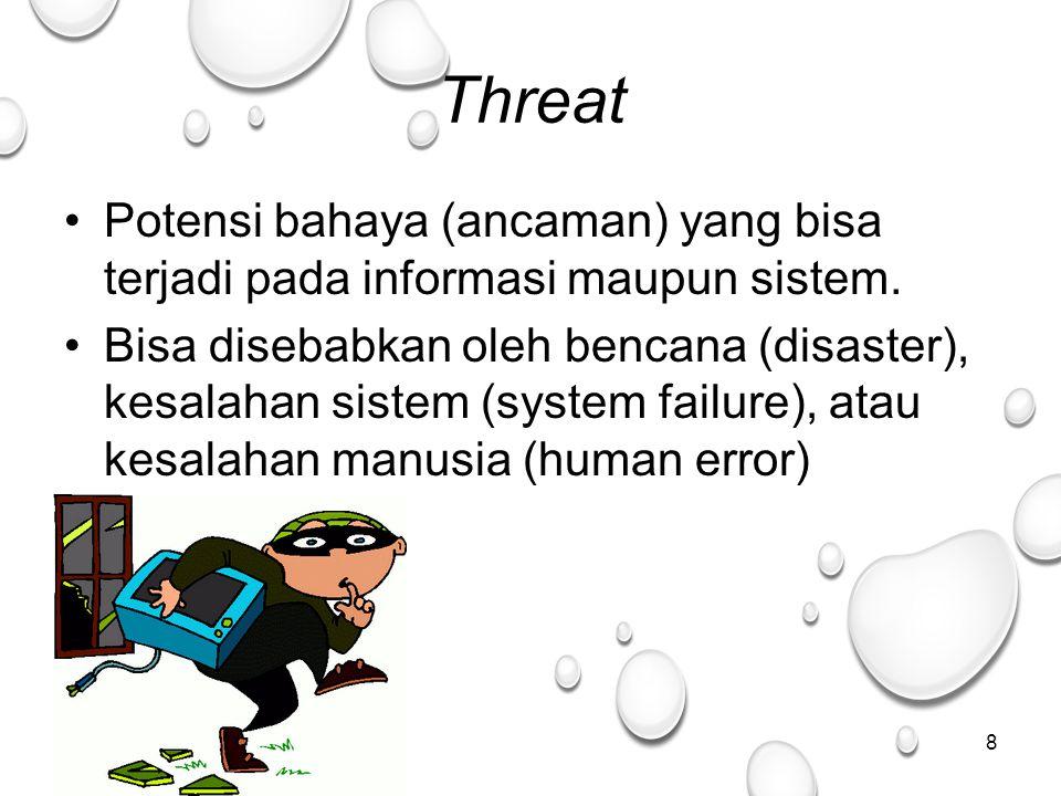 8 Threat Potensi bahaya (ancaman) yang bisa terjadi pada informasi maupun sistem.