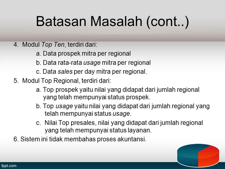 Batasan Masalah (cont..) 4. Modul Top Ten, terdiri dari: a. Data prospek mitra per regional b. Data rata-rata usage mitra per regional c. Data sales p