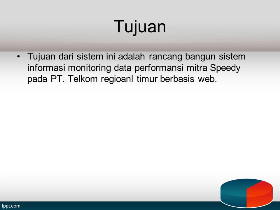 Tujuan Tujuan dari sistem ini adalah rancang bangun sistem informasi monitoring data performansi mitra Speedy pada PT. Telkom regioanl timur berbasis