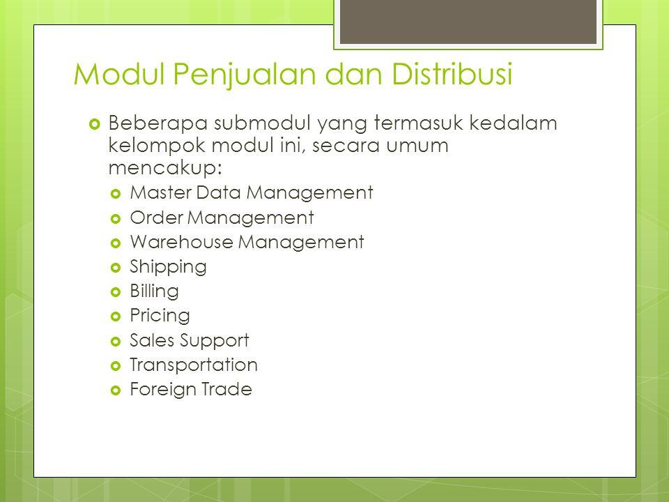 Modul Penjualan dan Distribusi  Beberapa submodul yang termasuk kedalam kelompok modul ini, secara umum mencakup:  Master Data Management  Order Ma