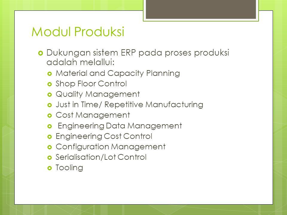 Modul Produksi  Dukungan sistem ERP pada proses produksi adalah melallui:  Material and Capacity Planning  Shop Floor Control  Quality Management
