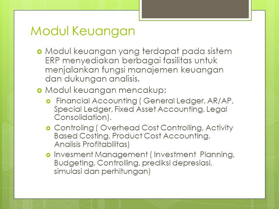 Modul Keuangan  Modul keuangan yang terdapat pada sistem ERP menyediakan berbagai fasilitas untuk menjalankan fungsi manajemen keuangan dan dukungan