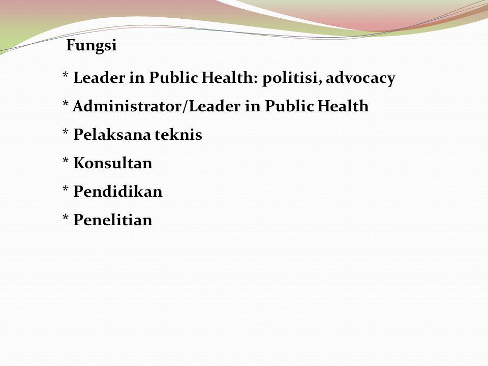 Fungsi * Administrator/Leader in Public Health * Pelaksana teknis * Konsultan * Pendidikan * Penelitian * Leader in Public Health: politisi, advocacy