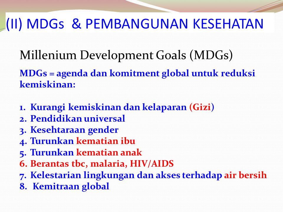 (II) MDGs & PEMBANGUNAN KESEHATAN Millenium Development Goals (MDGs) MDGs = agenda dan komitment global untuk reduksi kemiskinan: 1.Kurangi kemiskinan