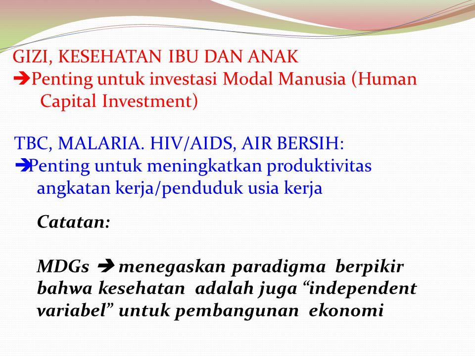 GIZI, KESEHATAN IBU DAN ANAK  Penting untuk investasi Modal Manusia (Human Capital Investment) TBC, MALARIA. HIV/AIDS, AIR BERSIH:  Penting untuk me