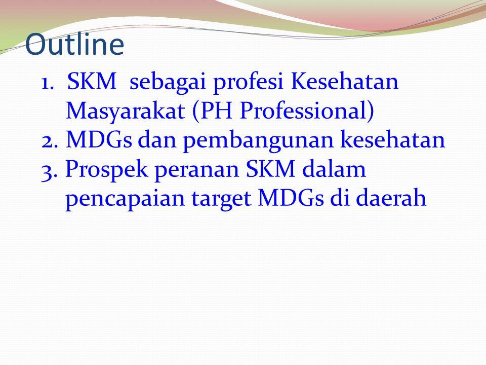 Outline 1. SKM sebagai profesi Kesehatan Masyarakat (PH Professional) 2. MDGs dan pembangunan kesehatan 3. Prospek peranan SKM dalam pencapaian target