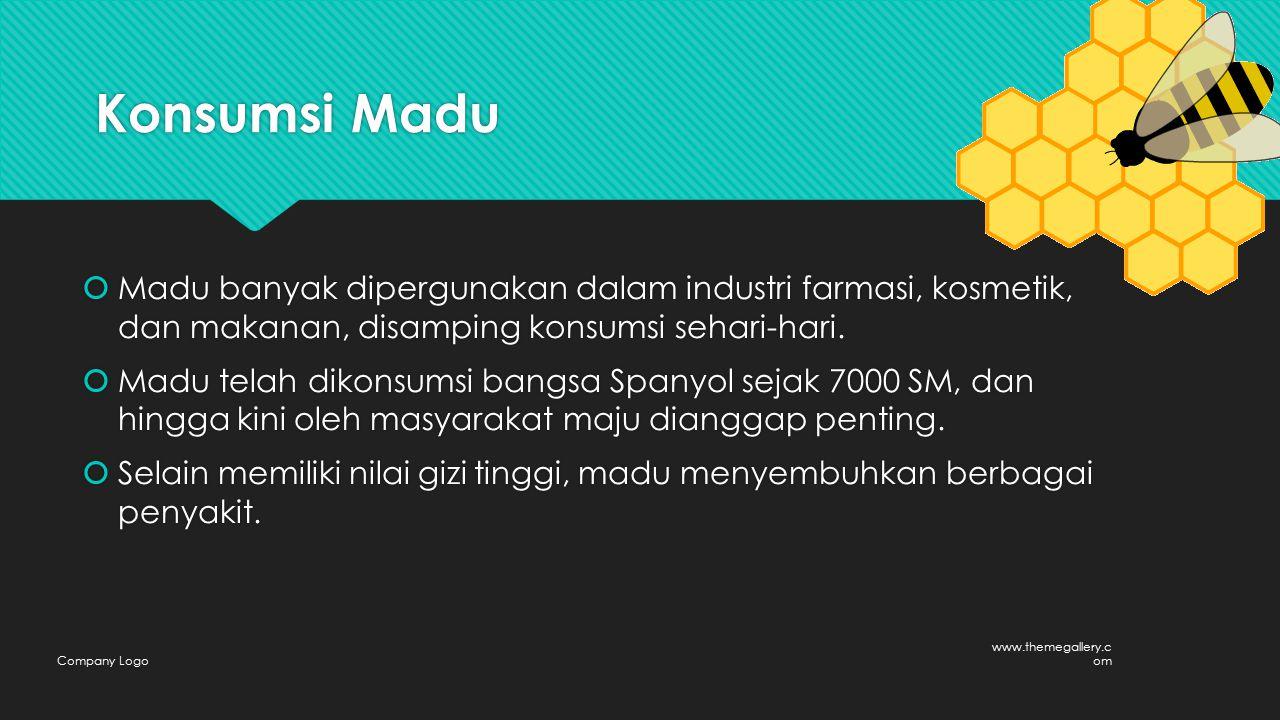 Konsumsi Madu  Madu banyak dipergunakan dalam industri farmasi, kosmetik, dan makanan, disamping konsumsi sehari-hari.