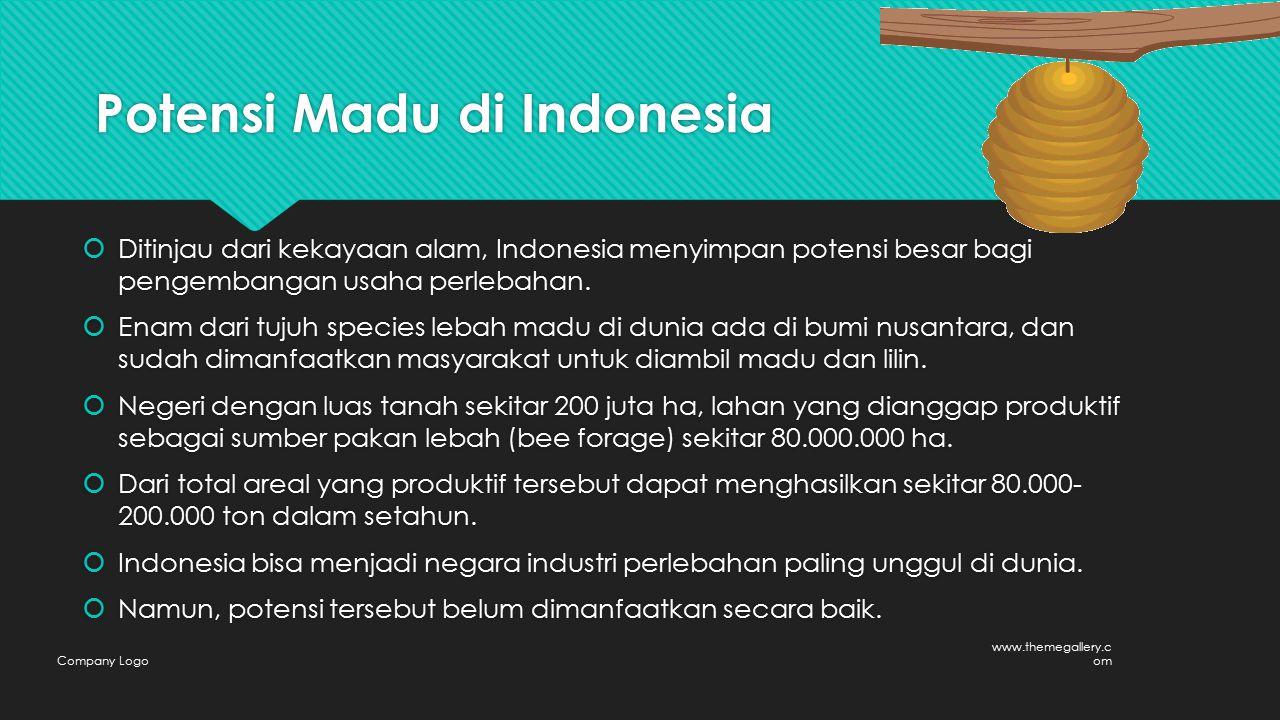 Potensi Madu di Indonesia  Ditinjau dari kekayaan alam, Indonesia menyimpan potensi besar bagi pengembangan usaha perlebahan.