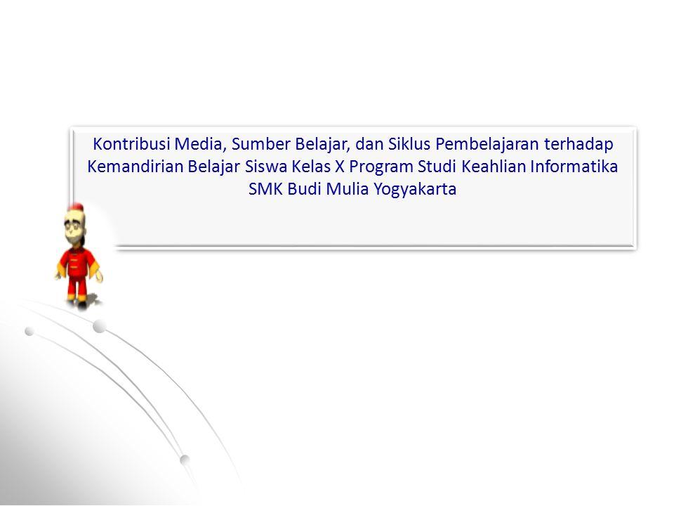Kontribusi Media, Sumber Belajar, dan Siklus Pembelajaran terhadap Kemandirian Belajar Siswa Kelas X Program Studi Keahlian Informatika SMK Budi Mulia