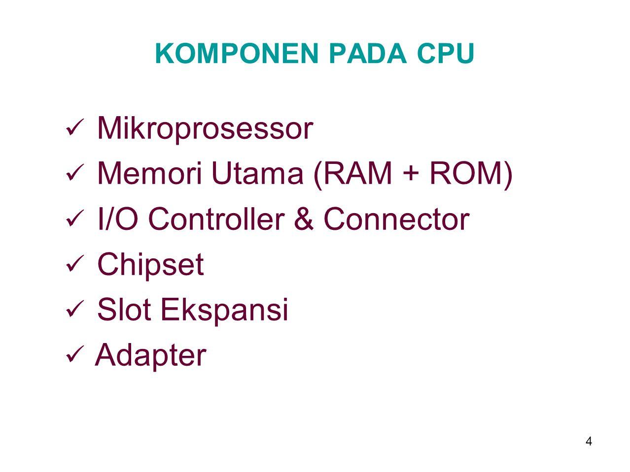 3 1. CENTRAL PROCESSING UNIT Merupakan pusat pemrosesan pada suatu sistem mikro komputer