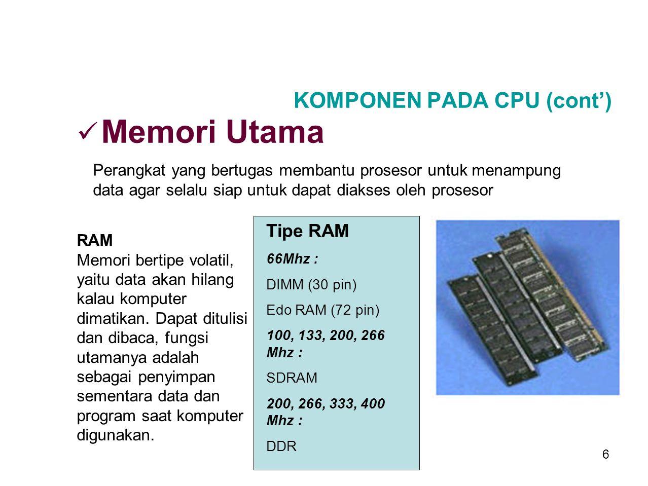 5 KOMPONEN PADA CPU (cont') Perangkat tambahan untuk menangani berbagai macam fungsi pada suatu sistem CPU. Kartu Grafis Kartu Suara Kartu Jaringan Ka