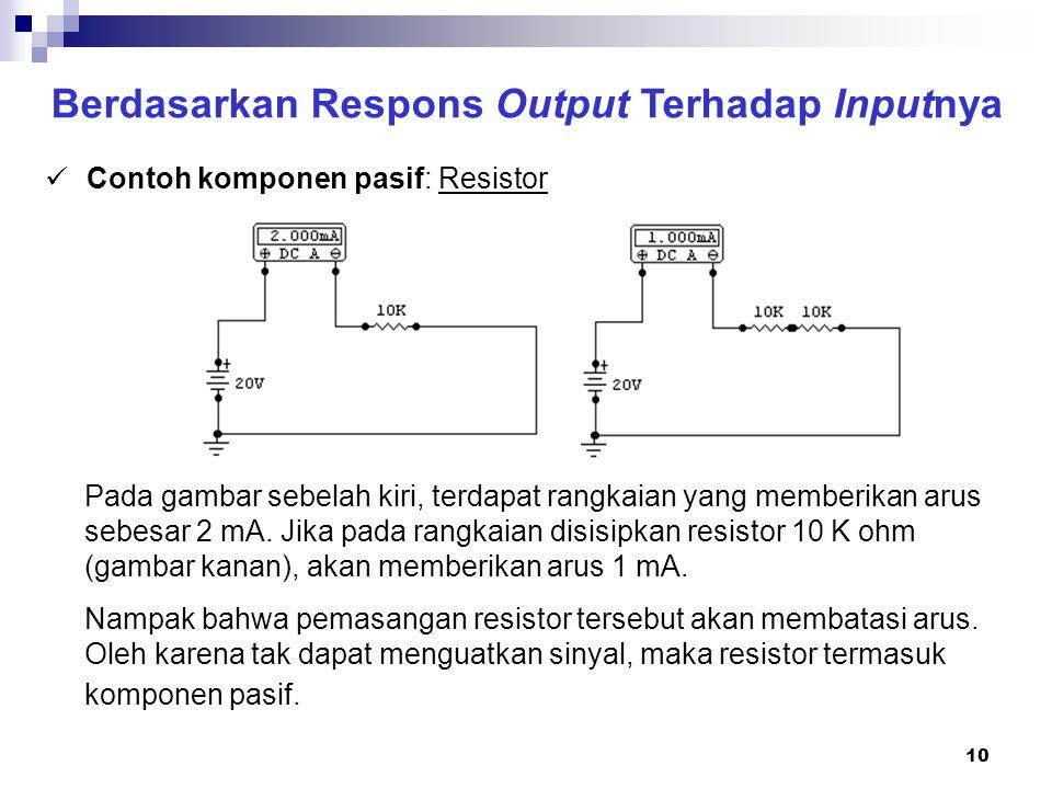 10 Berdasarkan Respons Output Terhadap Inputnya Contoh komponen pasif: Resistor Pada gambar sebelah kiri, terdapat rangkaian yang memberikan arus sebe