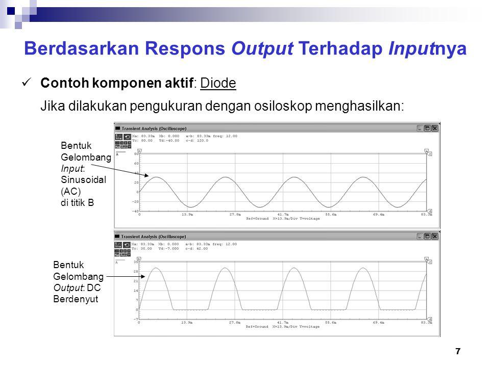 8 Berdasarkan Respons Output Terhadap Inputnya Contoh komponen aktif: LED (light emitting diode) Jika dihubungkan dengan sumber tegangan seperti pada rangkaian di bawah ini, maka LED tersebut akan menyala.