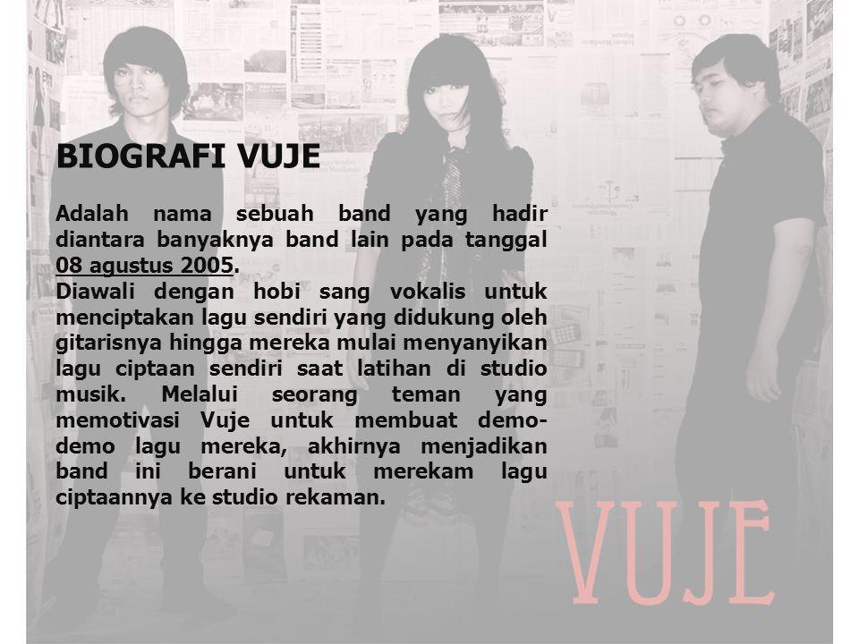 Vuje sendiri artinya adalah Kejayaan, yang mana band ini memacu diri untuk menjadi jaya dalam bidang permusikan di Indonesia, bahkan jikalau mungkin dunia internasional.