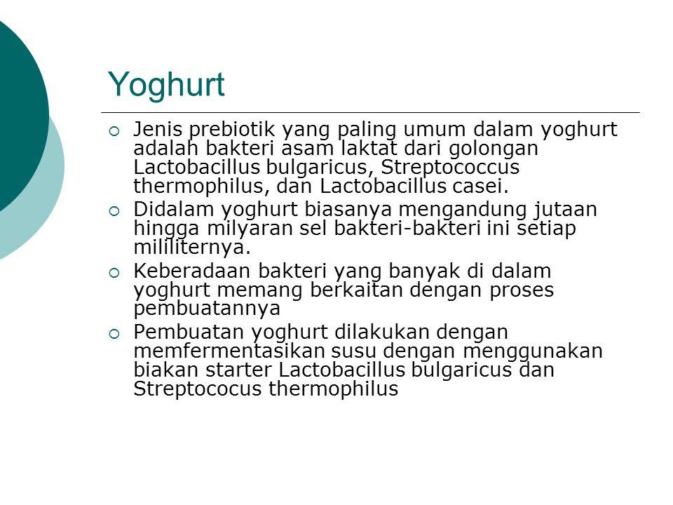 Yoghurt  Jenis prebiotik yang paling umum dalam yoghurt adalah bakteri asam laktat dari golongan Lactobacillus bulgaricus, Streptococcus thermophilus