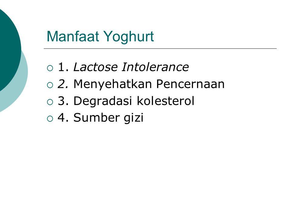 Manfaat Yoghurt  1. Lactose Intolerance  2. Menyehatkan Pencernaan  3. Degradasi kolesterol  4. Sumber gizi