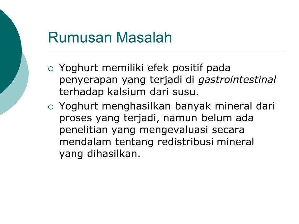 Rumusan Masalah  Yoghurt memiliki efek positif pada penyerapan yang terjadi di gastrointestinal terhadap kalsium dari susu.
