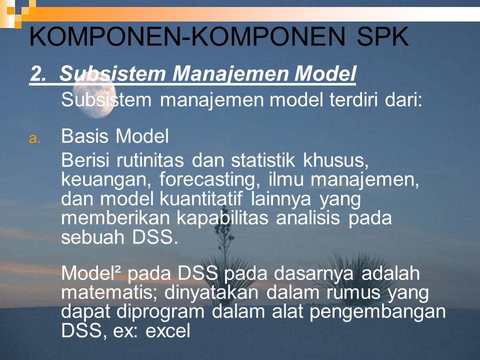 KOMPONEN-KOMPONEN SPK 2. Subsistem Manajemen Model Subsistem manajemen model terdiri dari: a. Basis Model Berisi rutinitas dan statistik khusus, keuan