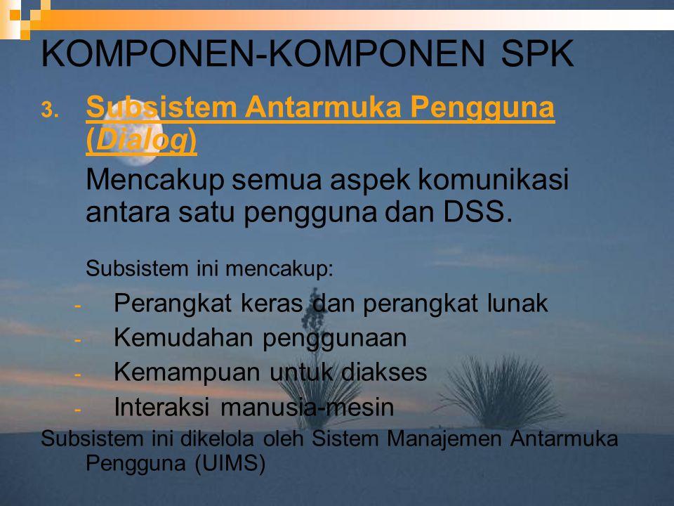 KOMPONEN-KOMPONEN SPK 3. Subsistem Antarmuka Pengguna (Dialog) Mencakup semua aspek komunikasi antara satu pengguna dan DSS. Subsistem ini mencakup: -