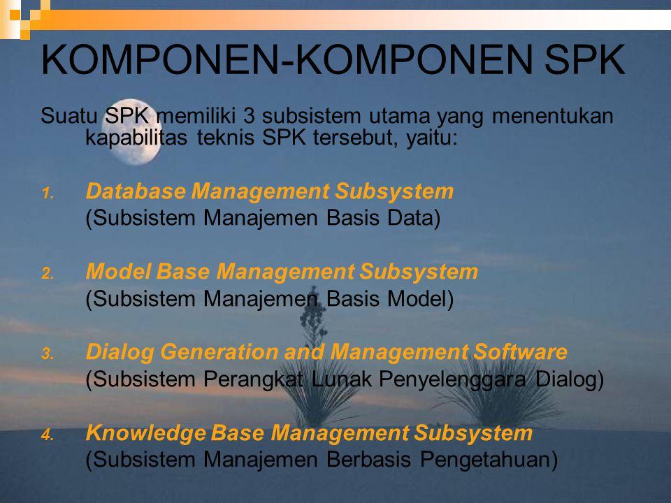 KOMPONEN-KOMPONEN SPK Suatu SPK memiliki 3 subsistem utama yang menentukan kapabilitas teknis SPK tersebut, yaitu: 1. Database Management Subsystem (S