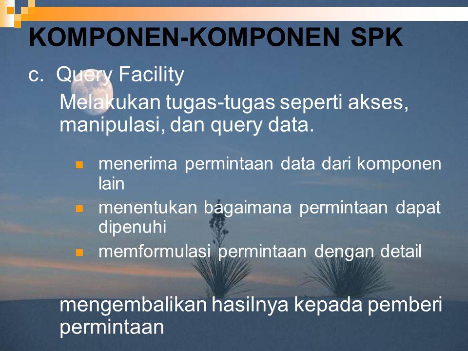 KOMPONEN-KOMPONEN SPK c. Query Facility Melakukan tugas-tugas seperti akses, manipulasi, dan query data. menerima permintaan data dari komponen lain m