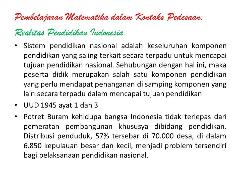 Pembelajaran Matematika dalam Kontaks Pedesaan. Realitas Pendidikan Indonesia Sistem pendidikan nasional adalah keseluruhan komponen pendidikan yang s
