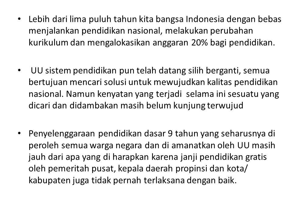 Lebih dari lima puluh tahun kita bangsa Indonesia dengan bebas menjalankan pendidikan nasional, melakukan perubahan kurikulum dan mengalokasikan angga