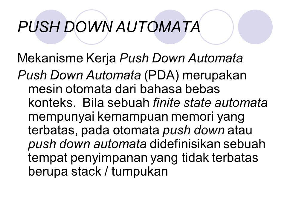 PUSH DOWN AUTOMATA Mekanisme Kerja Push Down Automata Push Down Automata (PDA) merupakan mesin otomata dari bahasa bebas konteks. Bila sebuah finite s