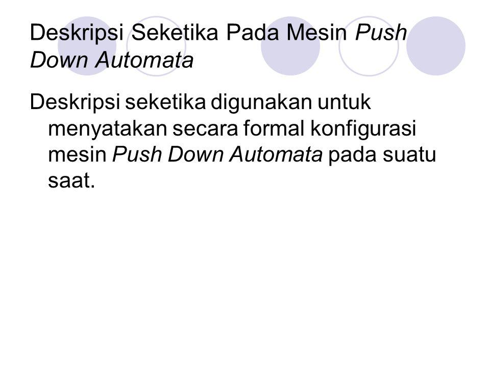 Deskripsi Seketika Pada Mesin Push Down Automata Deskripsi seketika digunakan untuk menyatakan secara formal konfigurasi mesin Push Down Automata pada