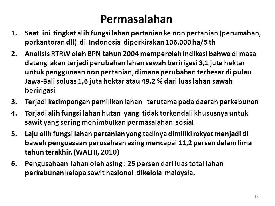 Permasalahan 1.Saat ini tingkat alih fungsí lahan pertanian ke non pertanian (perumahan, perkantoran dll) di Indonesia diperkirakan 106.000 ha/5 th 2.Analisis RTRW oleh BPN tahun 2004 memperoleh indikasi bahwa di masa datang akan terjadi perubahan lahan sawah beririgasi 3,1 juta hektar untuk penggunaan non pertanian, dimana perubahan terbesar di pulau Jawa-Bali seluas 1,6 juta hektar atau 49,2 % dari luas lahan sawah beririgasi.