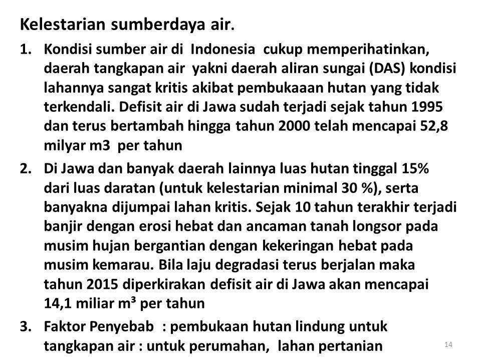 Kelestarian sumberdaya air. 1.Kondisi sumber air di Indonesia cukup memperihatinkan, daerah tangkapan air yakni daerah aliran sungai (DAS) kondisi lah