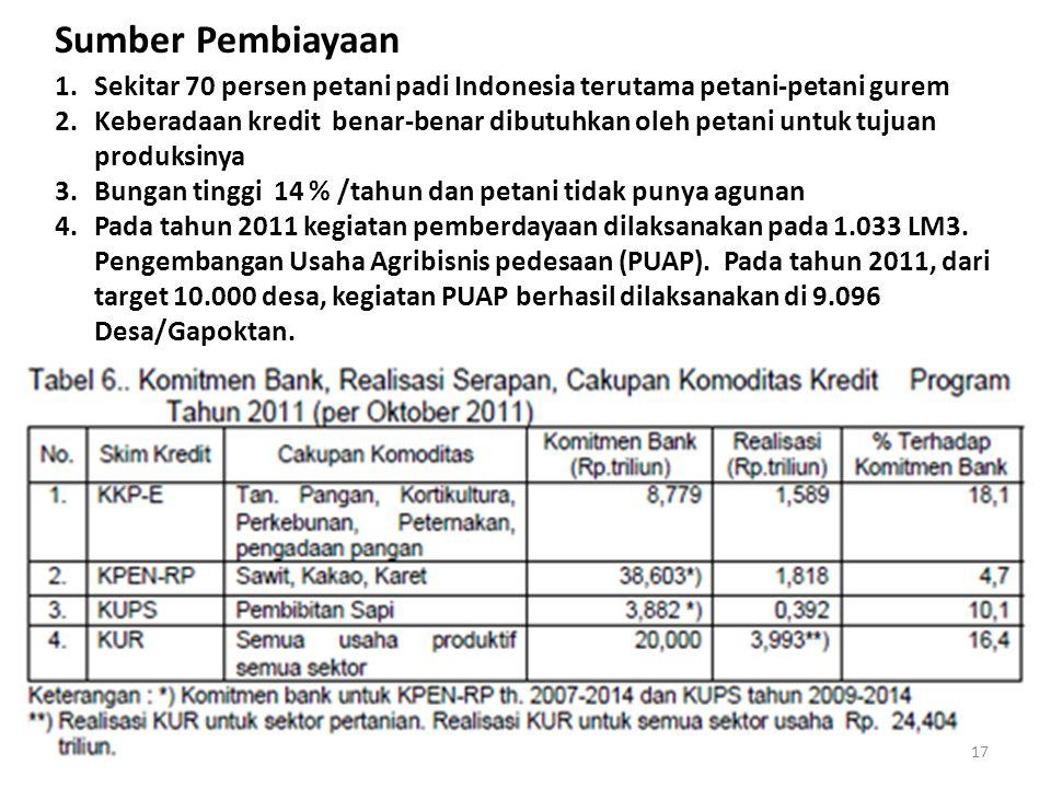 1.Sekitar 70 persen petani padi Indonesia terutama petani-petani gurem 2.Keberadaan kredit benar-benar dibutuhkan oleh petani untuk tujuan produksinya 3.Bungan tinggi 14 % /tahun dan petani tidak punya agunan 4.Pada tahun 2011 kegiatan pemberdayaan dilaksanakan pada 1.033 LM3.