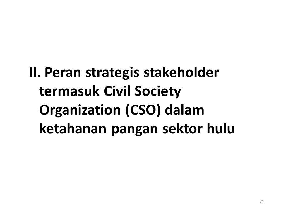 II. Peran strategis stakeholder termasuk Civil Society Organization (CSO) dalam ketahanan pangan sektor hulu 21