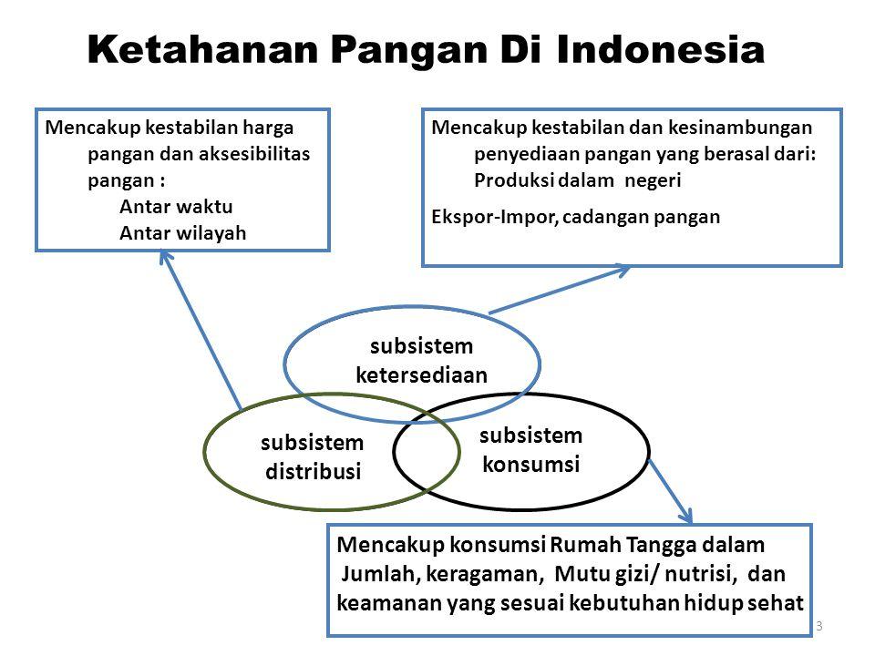 Ketahanan Pangan Di Indonesia subsistem ketersediaan subsistem konsumsi subsistem distribusi Mencakup kestabilan dan kesinambungan penyediaan pangan yang berasal dari: Produksi dalam negeri Ekspor-Impor, cadangan pangan Mencakup konsumsi Rumah Tangga dalam Jumlah, keragaman, Mutu gizi/ nutrisi, dan keamanan yang sesuai kebutuhan hidup sehat Mencakup kestabilan harga pangan dan aksesibilitas pangan : Antar waktu Antar wilayah 3