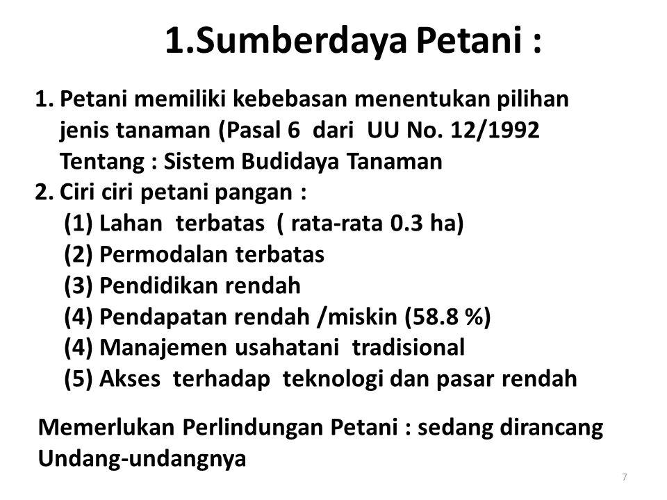 1.Sumberdaya Petani : 1.Petani memiliki kebebasan menentukan pilihan jenis tanaman (Pasal 6 dari UU No. 12/1992 Tentang : Sistem Budidaya Tanaman 2.Ci