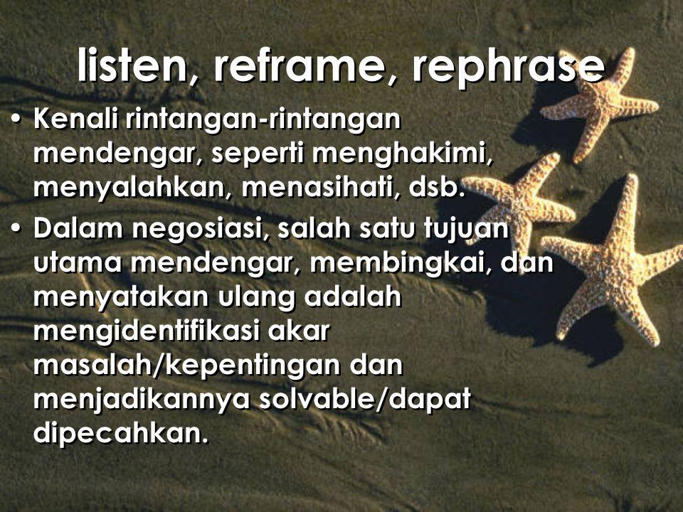 listen, reframe, rephrase Kenali rintangan-rintangan mendengar, seperti menghakimi, menyalahkan, menasihati, dsb. Dalam negosiasi, salah satu tujuan u
