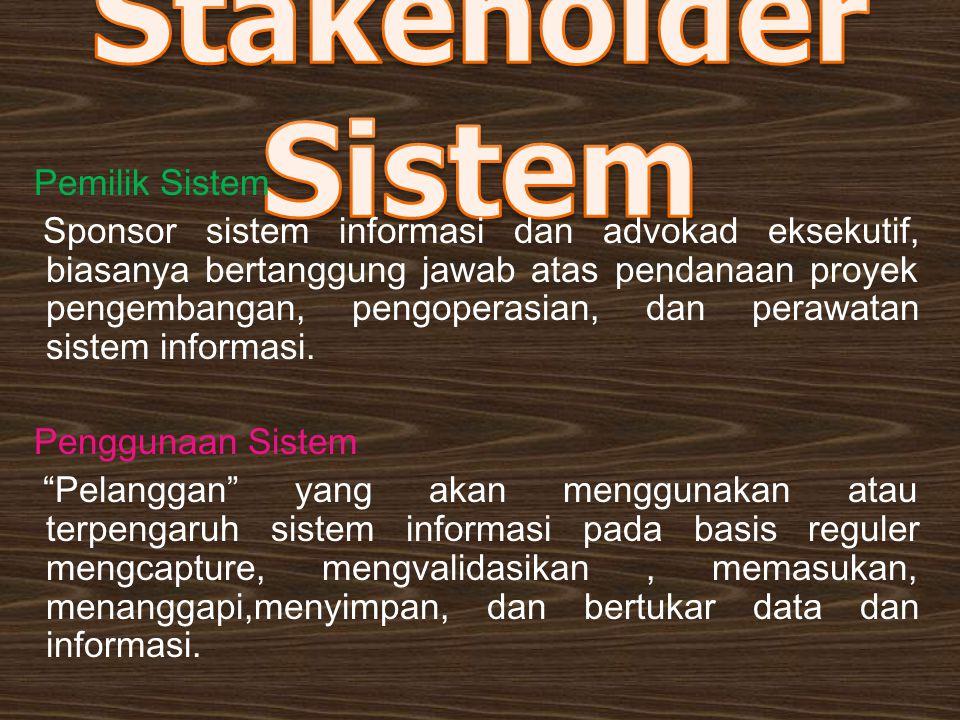 Pemilik Sistem Sponsor sistem informasi dan advokad eksekutif, biasanya bertanggung jawab atas pendanaan proyek pengembangan, pengoperasian, dan peraw