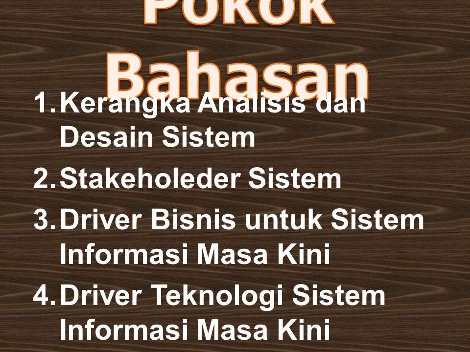 1.Kerangka Analisis dan Desain Sistem 2.Stakeholeder Sistem 3.Driver Bisnis untuk Sistem Informasi Masa Kini 4.Driver Teknologi Sistem Informasi Masa