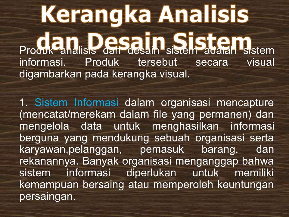 Produk analisis dan desain sistem adalah sistem informasi. Produk tersebut secara visual digambarkan pada kerangka visual. 1. Sistem Informasi dalam o