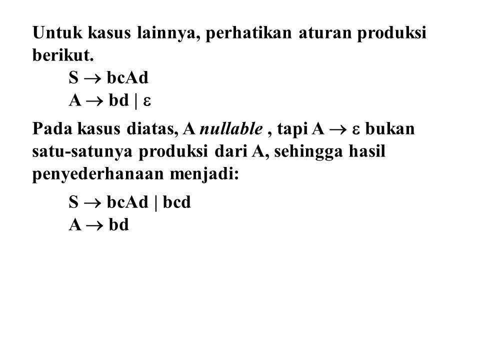 Untuk kasus lainnya, perhatikan aturan produksi berikut. S  bcAd A  bd |  Pada kasus diatas, A nullable, tapi A   bukan satu-satunya produksi dar