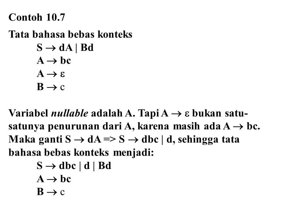Contoh 10.7 Tata bahasa bebas konteks S  dA | Bd A  bc A   B  c Variabel nullable adalah A. Tapi A   bukan satu- satunya penurunan dari A, kare