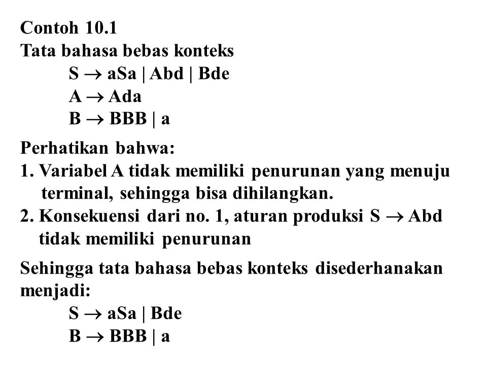Contoh 10.1 Tata bahasa bebas konteks S  aSa | Abd | Bde A  Ada B  BBB | a Perhatikan bahwa: 1. Variabel A tidak memiliki penurunan yang menuju ter
