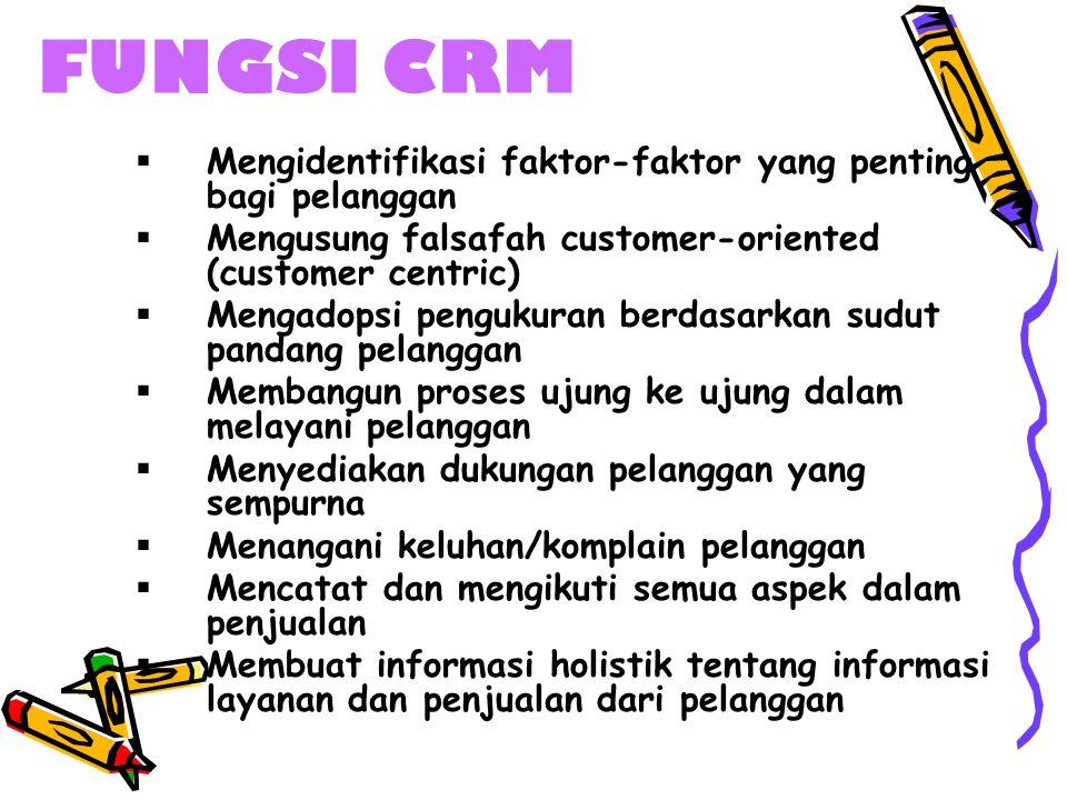 FUNGSI CRM  Mengidentifikasi faktor-faktor yang penting bagi pelanggan  Mengusung falsafah customer-oriented (customer centric)  Mengadopsi penguku