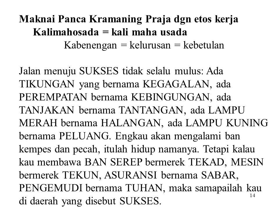13 PANCA KRAMANING PRAJA /Five Traditional Institutions: Para = telunjuk Puri = jari tengah Pura = jari manis Purana = kelingking ParaEmpu-an = ibu ja