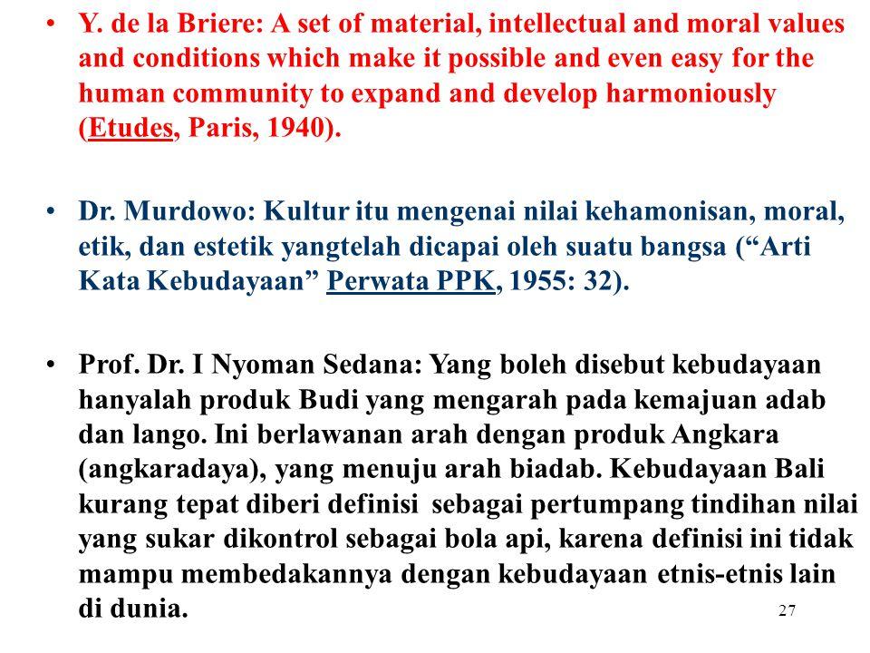 26 Diantara 179 definisi kebudayaan Prof. Koentjaraningrat: Keseluruhan gagasan dan karya manusia yang harus dibiasakannya dengan belajar, beserta kes