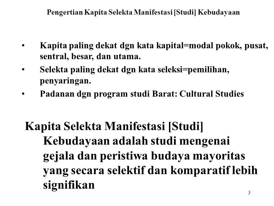 3 Pengertian Kapita Selekta Manifestasi [Studi] Kebudayaan Kapita paling dekat dgn kata kapital=modal pokok, pusat, sentral, besar, dan utama.