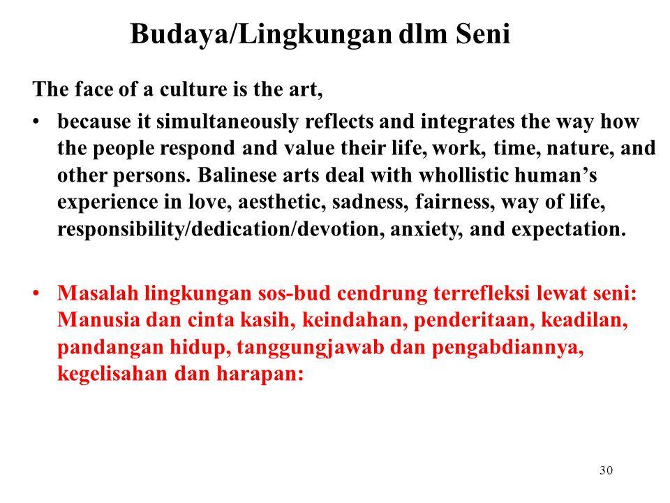 29 Masalah dan identitas kita lewat kebudayaan Masalah pokok kebudayaan: MH, MK, MW, MA, MM yang menentukan orientasi nilai budaya Masalah budaya dasa